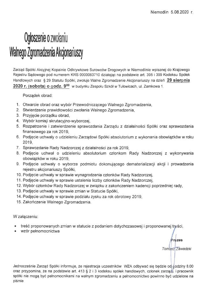 Ogłoszenie o zwołaniu Walnego Zgromadzenia Akcjonariuszy